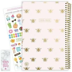 2020-21 Soft Cover Academic Daily Planner Calendar, Gold Bee