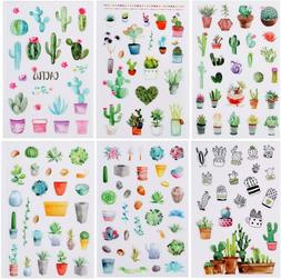 6 sheets cactus succulents stickers papercraft planner