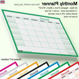 A4 MONTH PLANNER Wall / Desk Monthly Planner Calendar Double