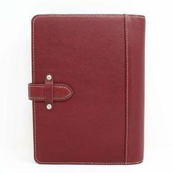 """Franklin Covey Classic Size 5.5"""" x 8.5"""" RED Leather Planner"""