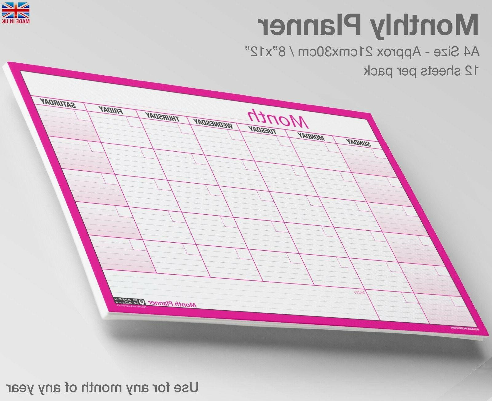 A4 MONTH PLANNER Desk / Wall Monthly Planner Calendar Double