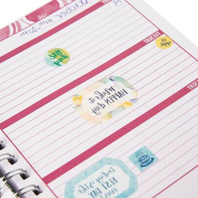 Spiral Notebook Monthly Weekly Undated Hardcover Journal