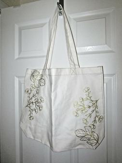 David Tutera Large Canvas Tote with Floral accent print Wedd