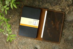 Leather notebook cover for moleskine classic notebook Large
