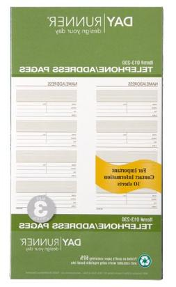 Day Runner Undated Planner Telephone and Address Refill, 3.7